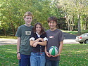Here's Tim at age 12 with friends Sam and Esme