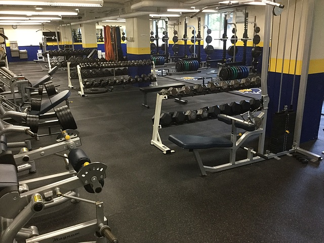 Laird Stadium weight room and conditioning area