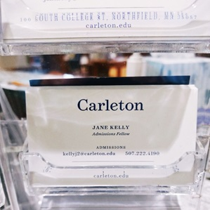 photo of business cards with Jane's contact information