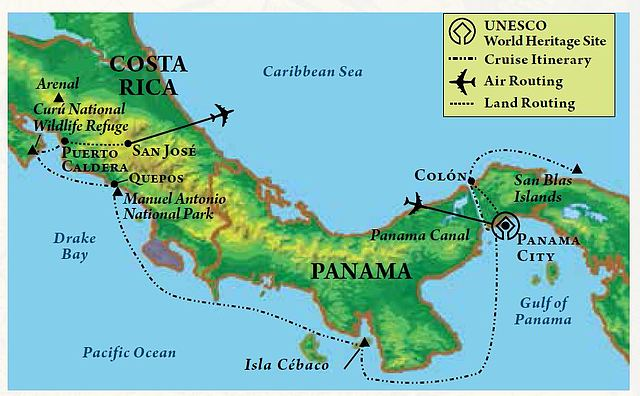 Map of itinerary, Panama Canal & Costa Rica