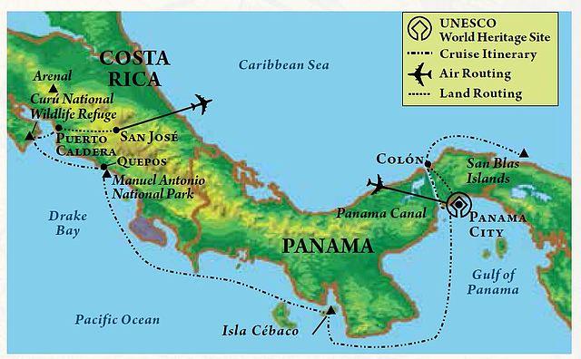 Panama Canal Map Map of itinerary, Panama Canal & Costa Rica Panama Canal Map