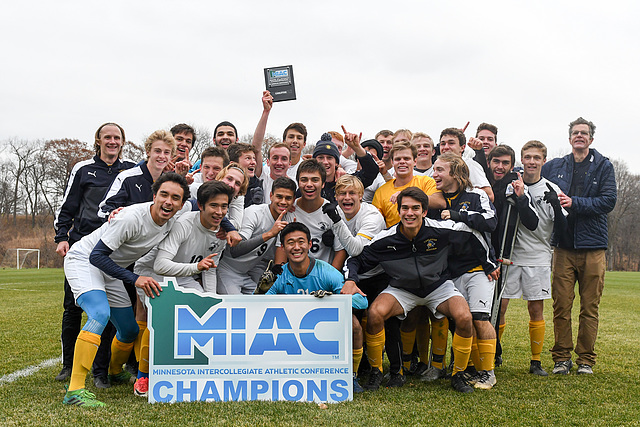 Team, men's soccer action, augsburg, miac championships, 2018-11-03
