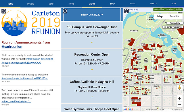 Reunion App Screenshots: Welcome tab with Twitter feed, Events tab with schedule, and Map tab with Carleton campus map
