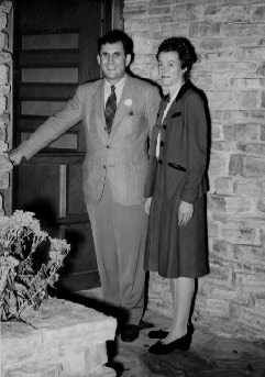 The President-elect and Peg at the door to their home, 1945.