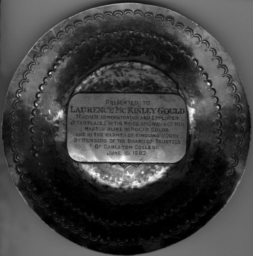 Plate presented to Gould.