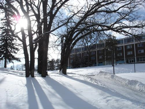 Myers Hall in snow