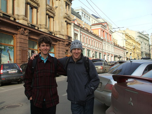 Mark and Charlie on Kuznetskii Most, Moscow, Russia