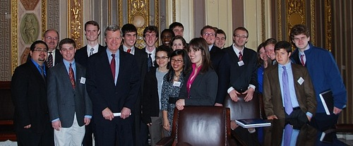 U.S. Senator Max Baucus with Carleton students