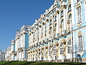 The facade of Catherine's Palace, in the village of Pushkin outside of St. Petersburg.