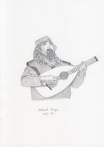Medieval Singer--Pencil Drawing by Nico Davies '03