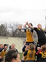 A lineout (throw-in) against the U of M