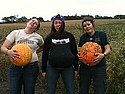 Silliness after a day of harvesting squash