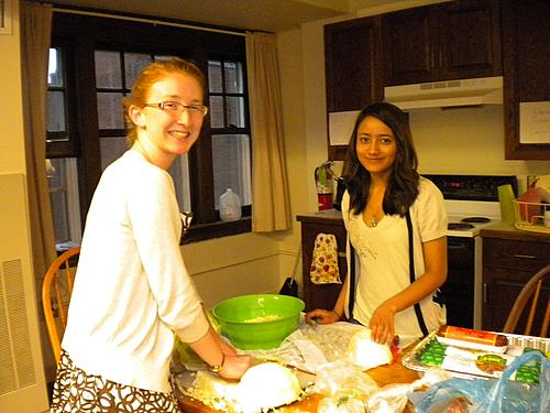 Cutting cabbage - Kaylin Land '15 and Sofia Shrestha '15