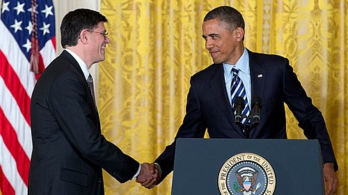 President Obama shakes hands with Jack Lew, the nominee for Secretary of the Treasury.