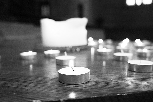 Students lit candles in Skinner Memorial Chapel all day Tuesday.
