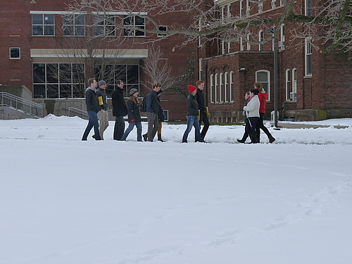 Prospective members of the class of 2017 trudge through the snow