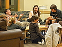 Prospective students hang out in the lounge of First Cassat.