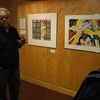 Japanese-American artist Roger Shimomura spoke with students during his visit to Carleton's gallery.