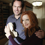 Bob Daily '82 and actor Marcia Cross with Schiller