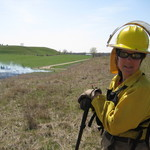 Nancy Braker at a prescribed burn at McKnight Prairie