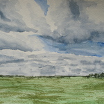 Watercolor of field and sky in the arboretum by Annie Perkins '07