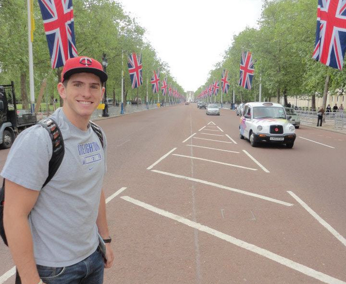 Taylor Hanson '14 in London as part of the Carleton Cambridge Economics Study Abroad program