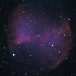 False color image of the Dumbell Nebula (M27). Hydrogen as red, sulphur as green, and oxygen as blue