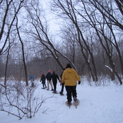 Student naturalists go snowshoeing in the Arb.