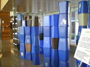 Spring 2012 waste exhibit in Weitz using the bins given up through the Community Waste program