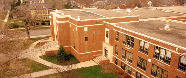 An aerial shot of the former Northfield Middle School, now home to the Weitz Center for creativity.