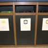 Waste receptacles in the Weitz Center.