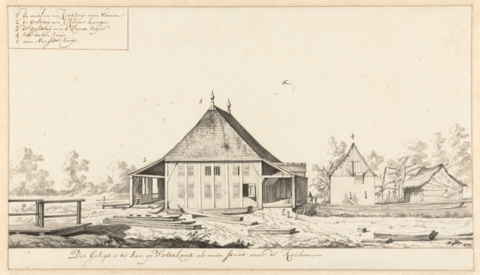 <strong>Figure 4.</strong> Dirk Valkenburg, <em>View of a Mill and Cook-house on a Plantation in Surinam</em>, 1708