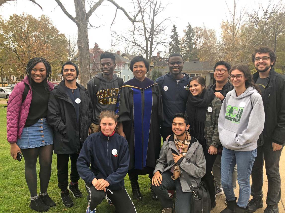 Dr. Mae Jemison with a group of students from Carleton's FOCUS program after her Convocation address