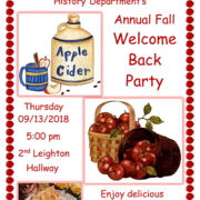 The fall welcome back party will be held this Thursday at 5pm