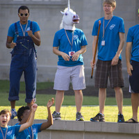 This year's welcome committee included—inexplicably—a unicorn