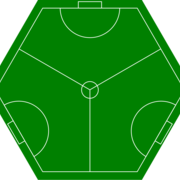Image of a hexagonal playing field for three-sided soccer (or football).