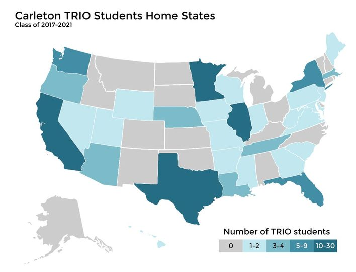 A map showing the home states of TRIO students from Classes 2017-2021.