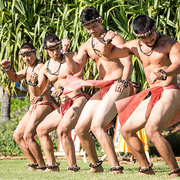 Members of the Hawaiian dance troupe Hālau Kiawekūpono O Ka Ua.