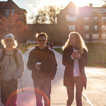 Brennan Johnson '21, Cole Hanson '21 and Izzy Bascom-Anderson '21 take a sunset walk around campus.