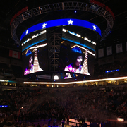 Gao Hong featured on the jumbotron as she performs the national anthem at the Target Center.