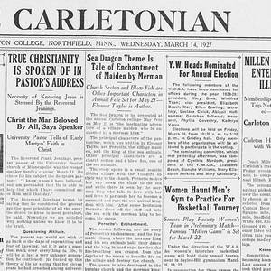 <em>Carletonian</em> front page, March 14, 1927