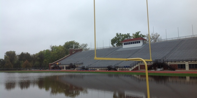 Flood damage at Laird Stadium
