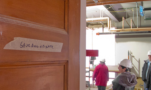 """Save Door + Frame"" is marked one of the original doors in the former Northfield Middle School."