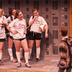 "The Carleton Players rehearse ""Good Kids"" in the Weitz theatre."