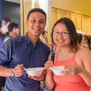 Students enjoying their pho.
