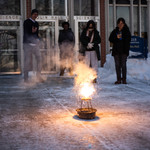 Students in CHEM 113 (Concepts of Chemistry) observe a Thermite demonstration outside Olin Hall.