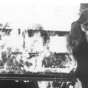 "Annea Lockwood at the 1968 performance of ""Piano Burning"""