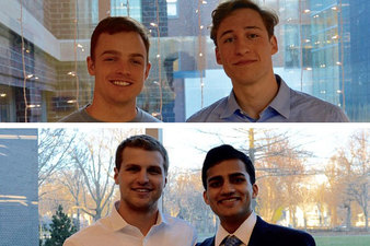 Left: Beau Smith and Rohan Mukherjee. Right: Mitchell Biewen and Jeremy Keane.