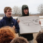 Nick and Ben explain an outcrop on the way to Baraboo.