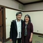David Henry Hwang poses with Nancy Cho